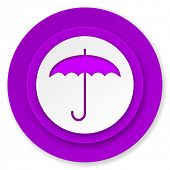 umbrella icon, violet button, protection sign