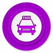 taxi icon, violet button