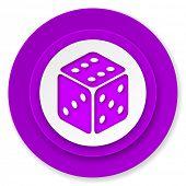 casino icon, violet button, hazard sign
