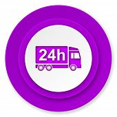 delivery icon, violet button, 24h shipping sign