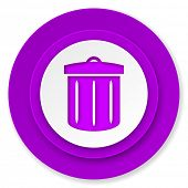recycle icon, violet button, recycle bin sign