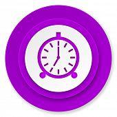 alarm icon, violet button, alarm clock sign