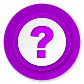 question mark icon, violet button, ask sign