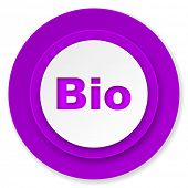 bio icon, violet button