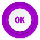 ok icon, violet button