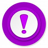 exclamation sign icon, violet button, warning sign