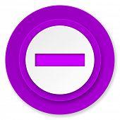 minus icon, violet button