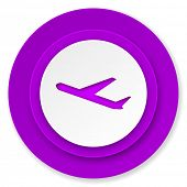 deparures icon, violet button, plane sign