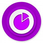 chart icon, violet button