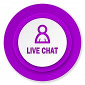 live chat icon, violet button