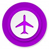 plane icon, violet button, airport sign