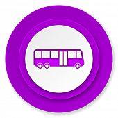 bus icon, violet button, public transport sign
