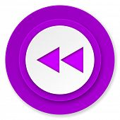 rewind icon, violet button