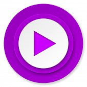 play icon, violet button