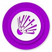 bomb icon, violet button
