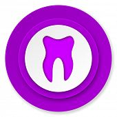 tooth icon, violet button