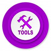 tools icon, violet button