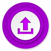 upload icon, violet button
