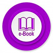 book icon, violet button, e-book sign