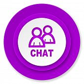 chat icon, violet button
