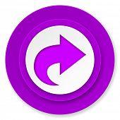 next icon, violet button, arrow sign