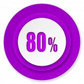 80 percent icon, violet button, sale sign