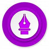 pen icon, violet button