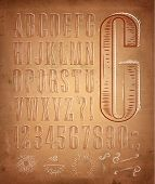 Vintage font letters retro