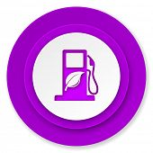 biofuel icon, violet button, bio fuel sign