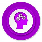 head icon, violet button, human head sign