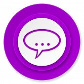 forum icon, violet button, chat symbol, bubble sign