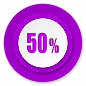 50 percent icon, violet button, sale sign