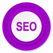 seo icon, violet button