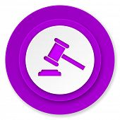 auction icon, violet button, court sign, verdict symbol