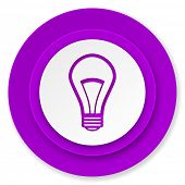 bulb icon, violet button, light bulb sign