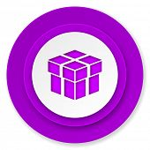 box icon, violet button