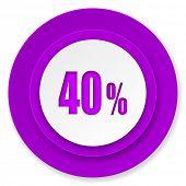 40 percent icon, violet button, sale sign
