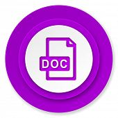 doc file icon, violet button
