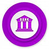 bank icon, violet button