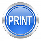 print icon, blue button