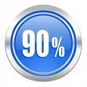 90 percent icon, blue button, sale sign