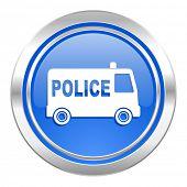 police icon, blue button