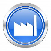 factory icon, blue button, industry sign, manufacture symbol