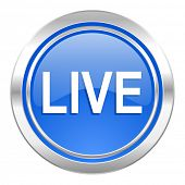 live icon, blue button