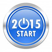new year 2015 icon, blue button, new years symbol