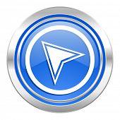 navigation icon, blue button