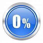 0 percent icon, blue button, sale sign