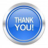 thank you icon, blue button