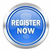 register now icon, blue button