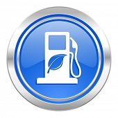 biofuel icon, blue button, bio fuel sign
